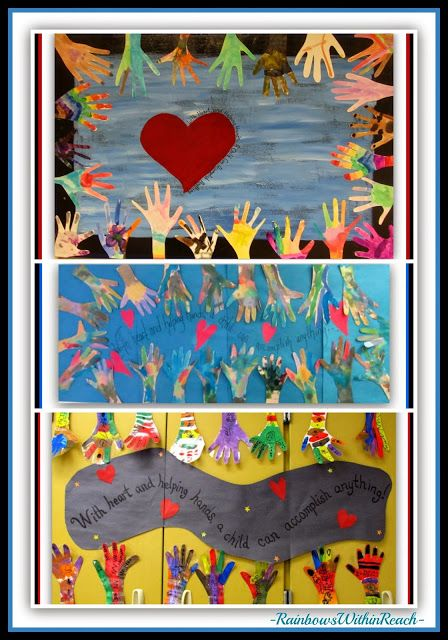 Three Variations of Classroom Collaborations for Individual Painted Hands via RainbowsWithinReach
