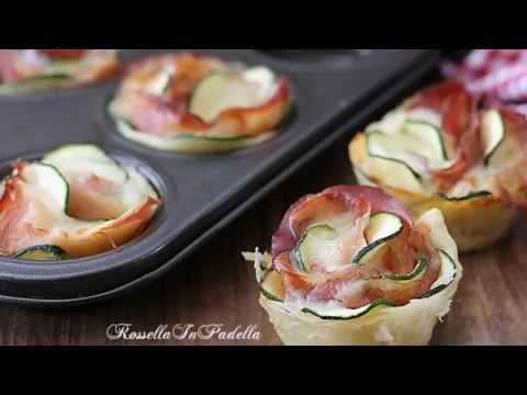 Rose di zucchine e speck, ricetta antipasto facile e sfizioso. Facilissime da preparare le Rose di sfoglia con zucchine e speck, e molto buone.