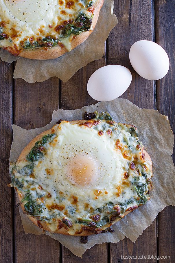Perfect for breakfast lunch or dinner - Creamed Spinach and Egg Pizza