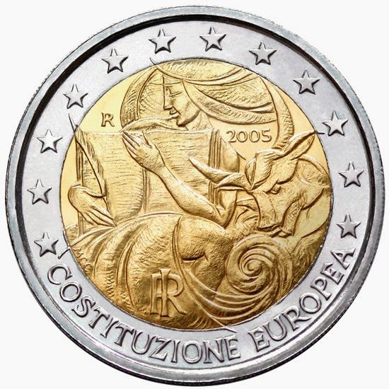 2 euro coins - Italy 2005, First anniversary of the signing of the European Constitution. Commemorative 2 euro coins from Italy