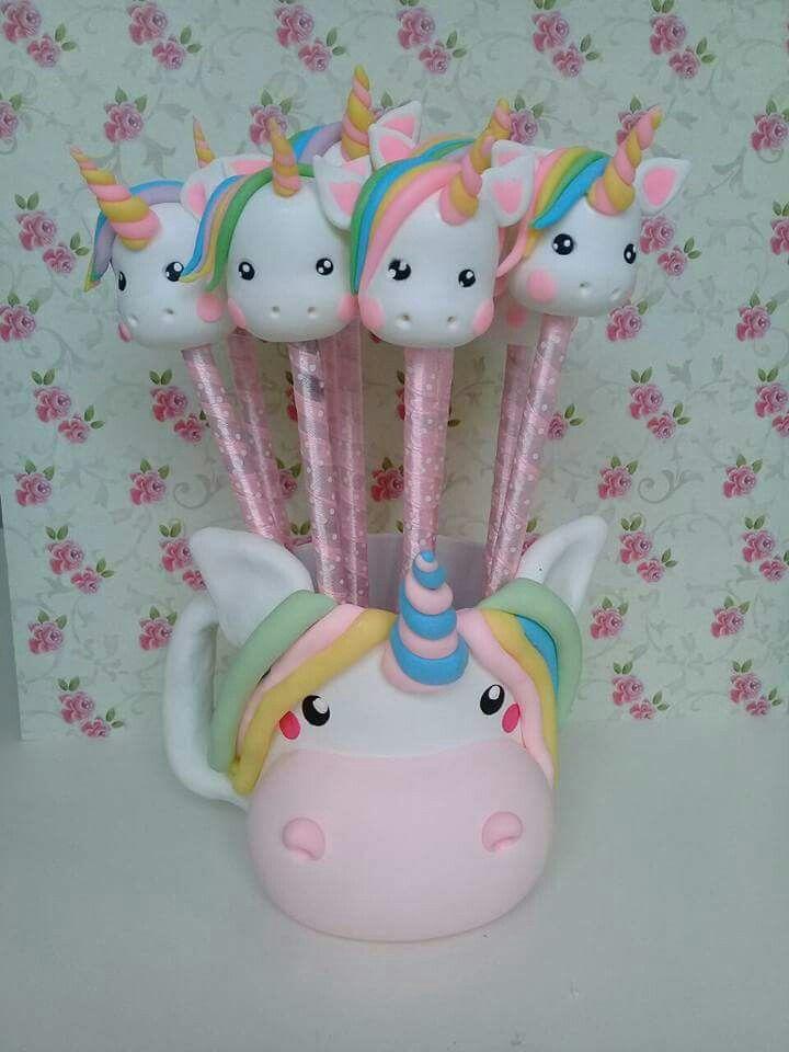 Resultado de imagem para porta caneta unicornio de biscuit