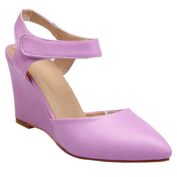 Stylish Women's Wedge Shoes With Pointed Toe and Solid Color Design #CLICK! #clothing, #shoes, #jewelry, #women, #men, #hats, #watches