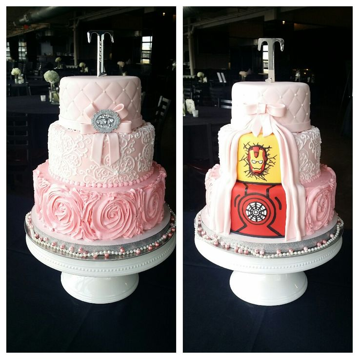three tier pink wedding cake with rosettes, royal piping flowers, and quilted design complete with super hero iron man surprise for the groom on the back side of the cake