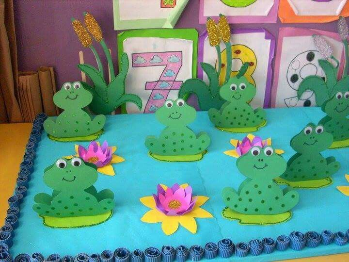 Cute 3D display of frogs. It can be used for frog princess themed party or class project.