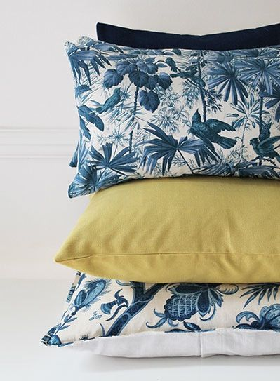 Image of Vintage Tropical Print Blue Scatter Cushion
