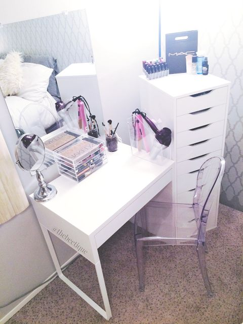 DIY White IKEA Vanity // Makeup Organization - Louis Ghost Chair dupe, Muji Acrylic 5 Drawer makeup organizer, white MICKE desk, beveled edge wall mirror, clear magazine holder hair station, lipstick organizer, white ALEX 9 drawers. #diyvanity #diymakeupvanity via thebeetique.blogspot.com