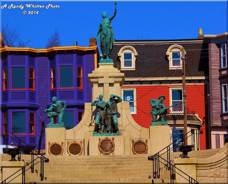 """Canada has two national war memorials. One in Ottawa and the other here in St. Johns. It was erected at King's Beach on Water Street where, in 1583, Sir Humphrey Gilbert claimed Newfoundland for England and started the British Empire in doing so. It was formally unveiled on Memorial Day, July 1, 1924 by Field Marshal Douglas Haig, 1st Earl Haig. The term """"National"""" refers to this monument being built by the nation of Newfoundland before it became part of Canada in 1949.."""