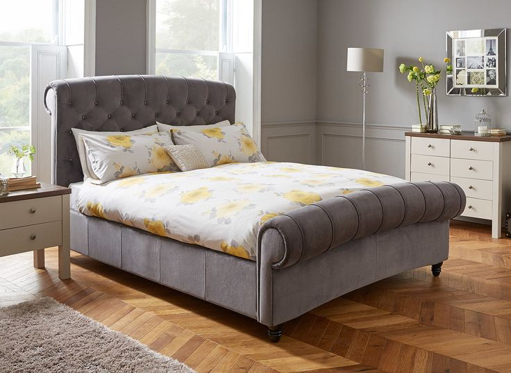 Combining stylish design and plush grey velvet, our Ellis bed frame will be a fabulous addition to your bedroom. Its sumptuous high quality fabric with beautiful diamante detailing mean that this impressive bed really makes a statement.