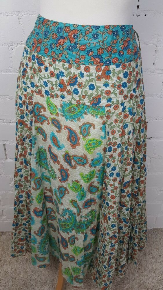540d63867 POMODORO - CREAM/TEAL FLORAL PAISLEY PRINT COTTON SUMMER SKIRT - UK 10 VGC  #fashion #clothing #shoes #accessories #womensclothing #skirts (ebay link)