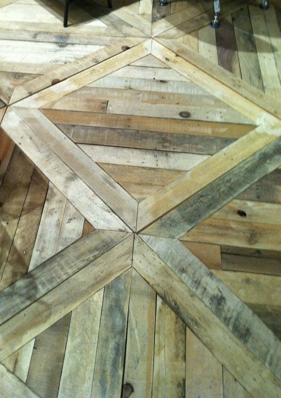 Wood / pallet Floor. Love the pattern! stained dark ♥ with white wash walls!