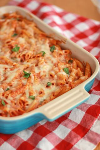 pink pasta-marinara and alfredo sauces mixed with pasta and cheese!