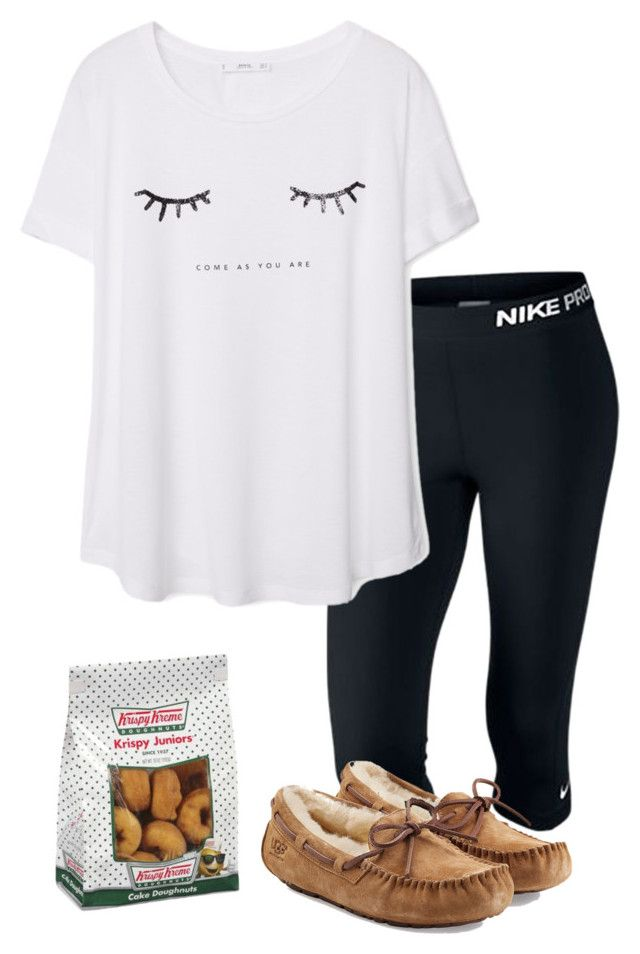 """When you were expecting doughnuts and then that person doesn't bring them "" by madelyn-abigail ❤ liked on Polyvore featuring NIKE, MANGO, UGG Australia, women's clothing, women's fashion, women, female, woman, misses and juniors"