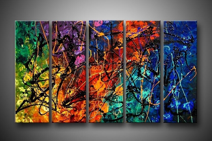 Colorful Abstract art multiple panel canvas painting in rainbow colors.
