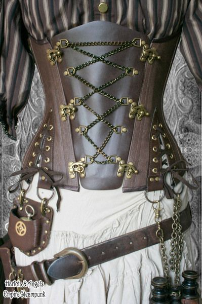 The Steampunk Corset. This beautiful chocolate brown Veg leather & brass underbust corset is a highly individual Steampunk Corset. A great centrepiece