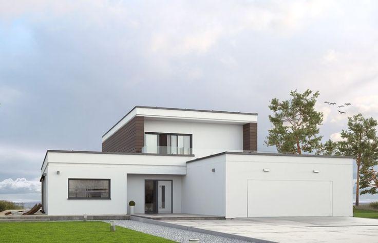 Projekt Asteria to nowoczesny dom piętrowy z dwustanowiskowym garażem.