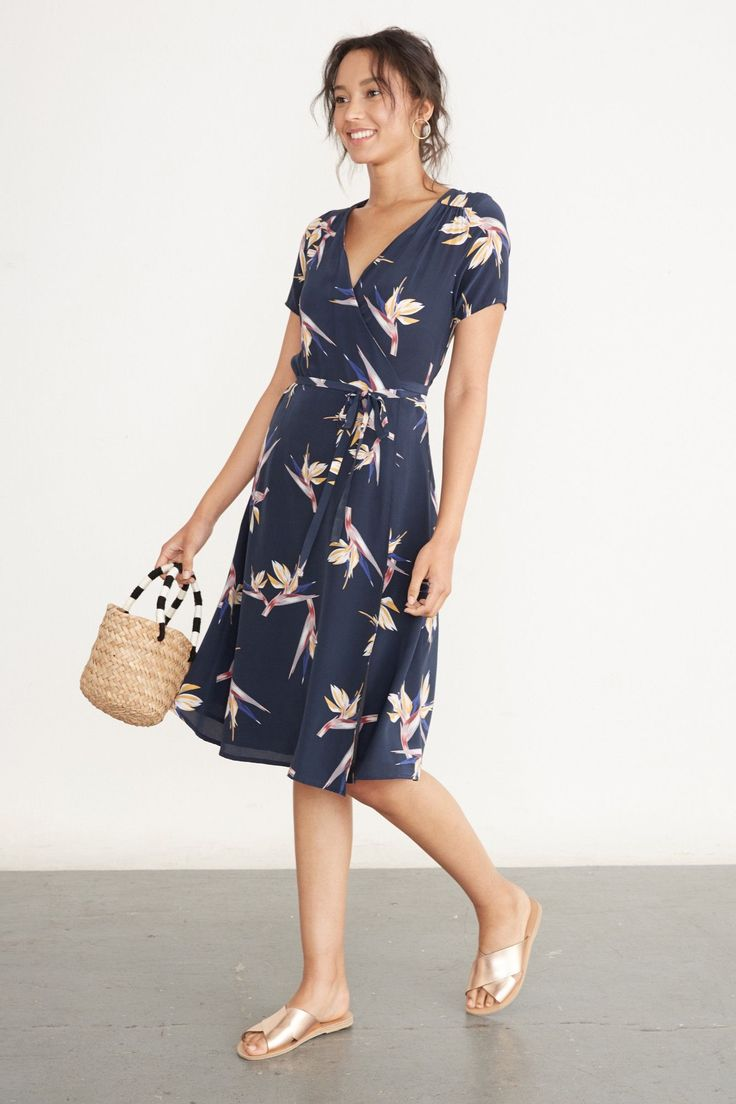 Elise Wrap Dress, Navy Bird of Paradise, 100% mulberry silk, $218