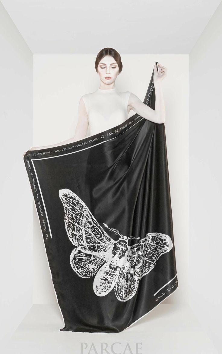 Do you know Parcae's #trademark is the Bombix Mori Butterfly, from whose cocoon #silk is extracted. Sapevate che il simbolo di Parcae è il Bombix Mori dal cui bozzolo viene estratta la seta? #foulard #madeinitaly #brand #fashion #ss2014 #ss14 #fashion #fashionweek #milanfashionweek #parisfashionweek #butterfly #satin #puresilk #specialone #italianstyle #georgette #chiffon #style #elegance #amazing #grace