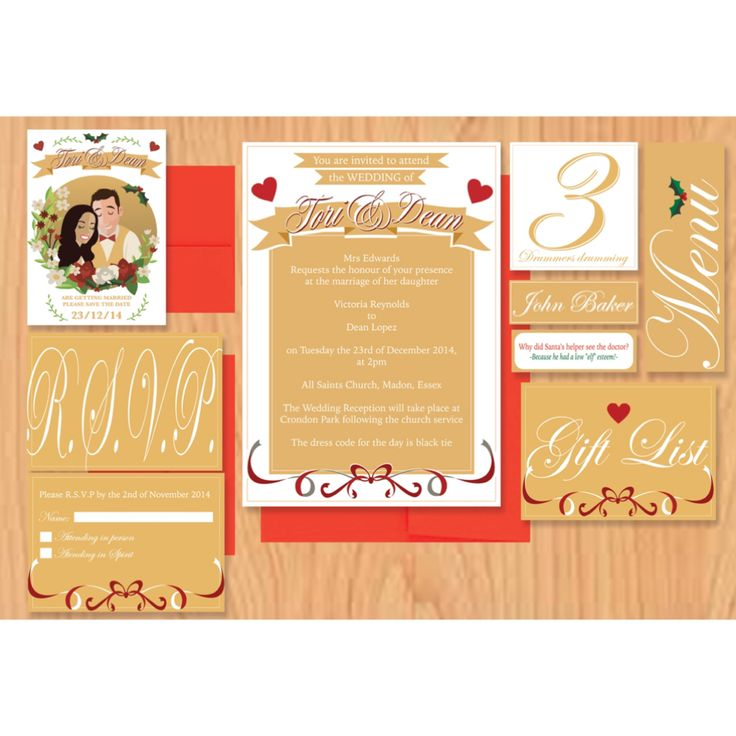Our bespoke Christmas themed wedding stationery.