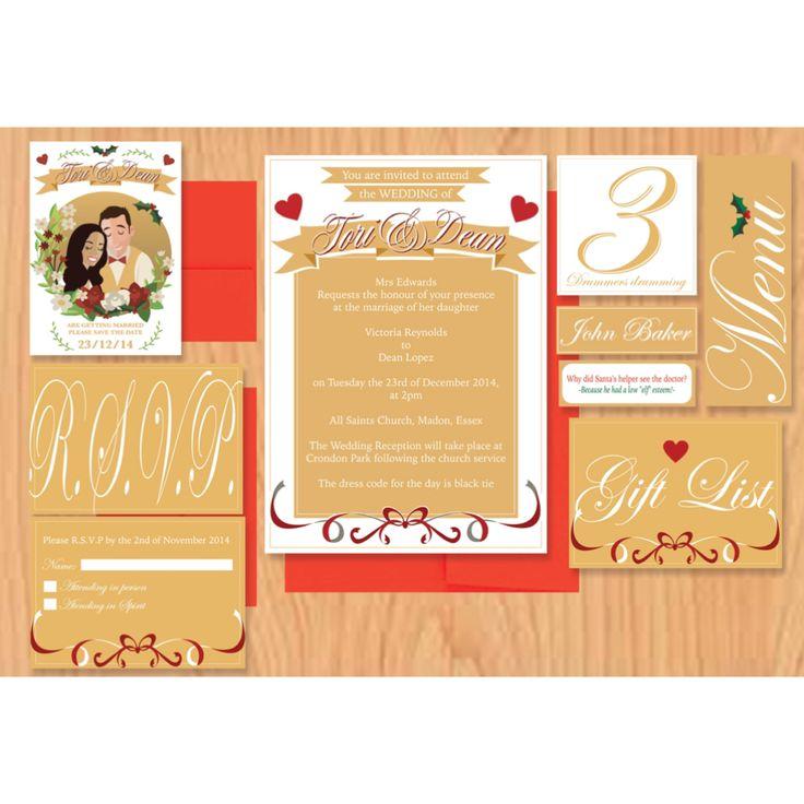 Our bespoke Christmas themed wedding stationery.