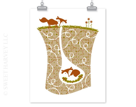 Fox Nursery Art Underground Tunnel Ant Hill  by sweetharvey, $15.00