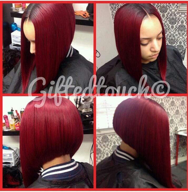 burgundy bob!!! | hair stylez | Pinterest | Burgundy, Bobs and Middle ...