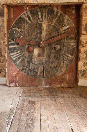 Antique French Station Clock...rustic charm...chipped & worn...red & black...rusty hands of time.