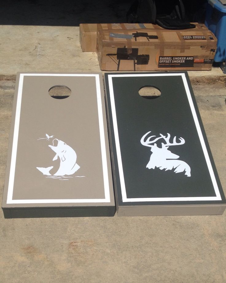 Hunting/fishing theme cornhole boards. Picture only