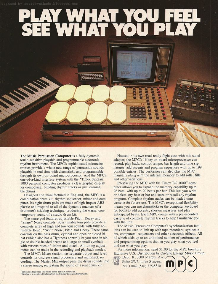 """Retro Synth Ads: MPC Electronics Music Percussion Computer """"Play What You Feel..."""" ad, Keyboard 1983"""