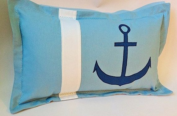 Nautical cushion cover nautical pillow case blue by CountTheSheep, £15.00