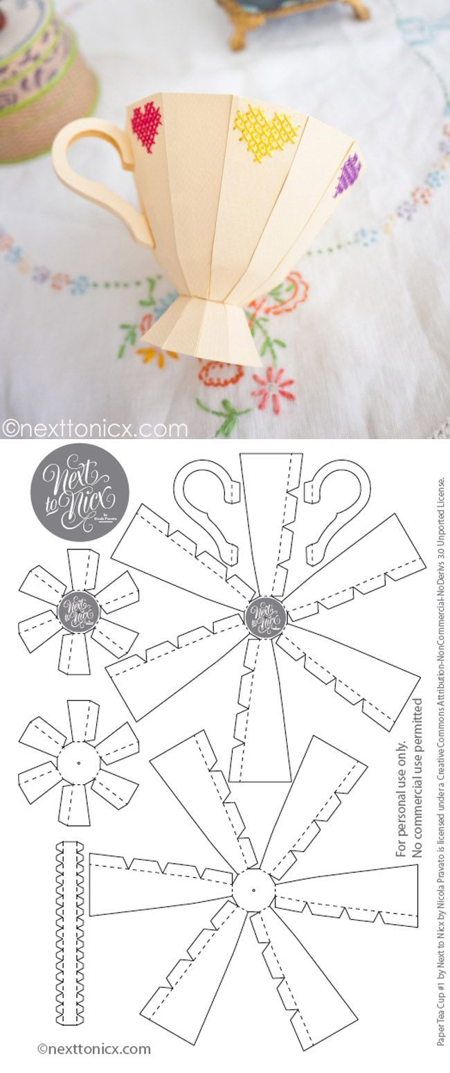 Make It: Embroidered 3D Paper Tea Cup - Free Template & Tutorial #papercrafts