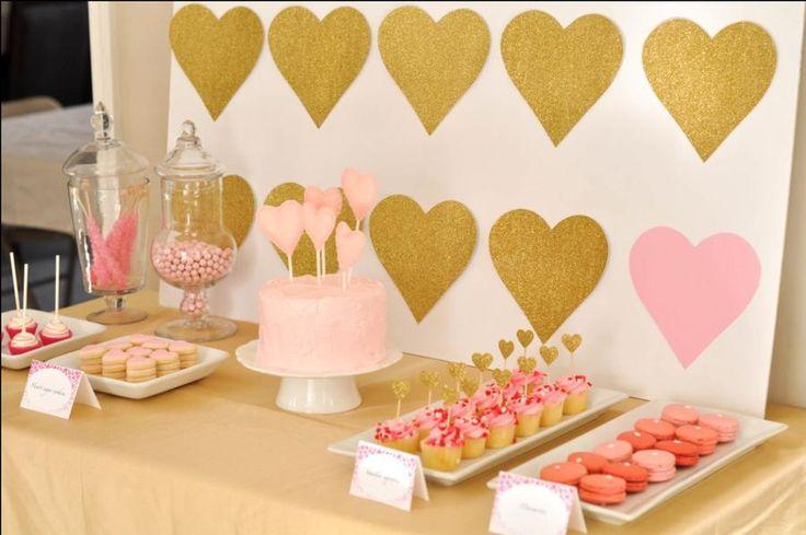 Pink and gold bridal shower dessert bar. Eat Drink Pretty.
