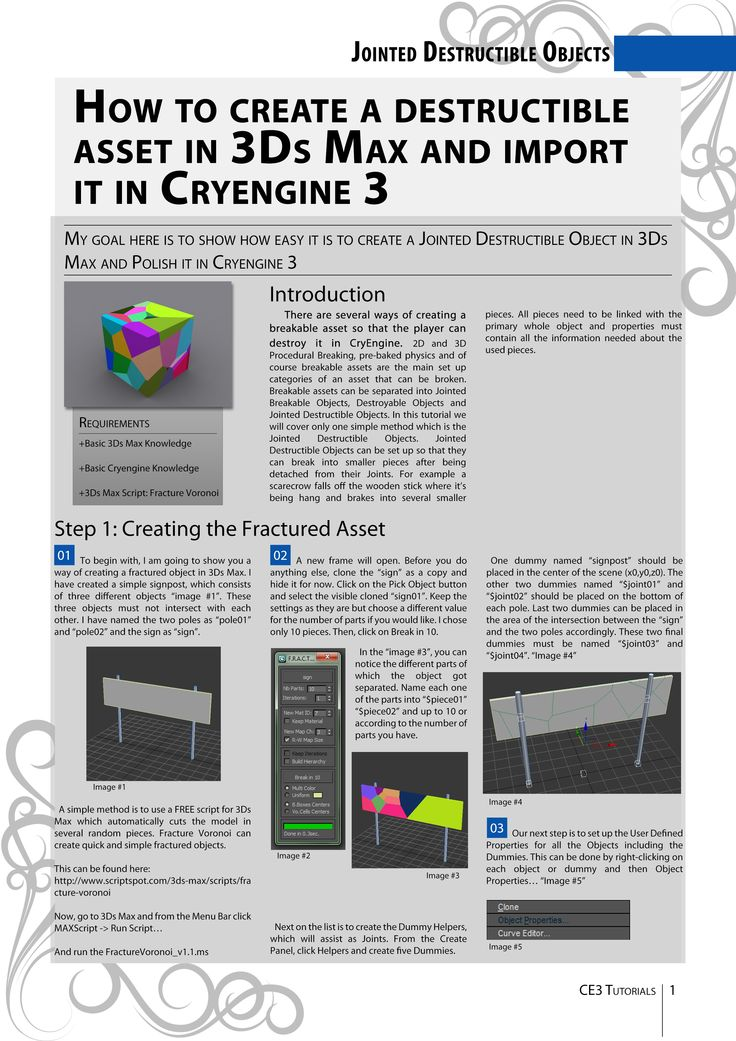 Tutorial about the creation and import of Destructible Assets from 3Ds Max into CryENGINE 3