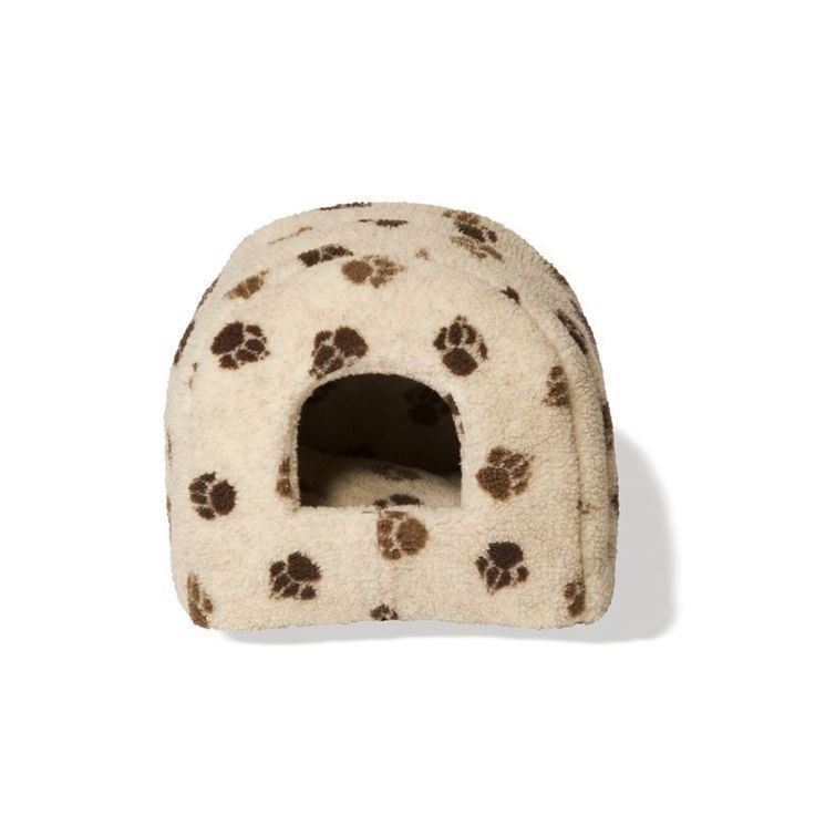 Fleece Cats Bed Beige Igloo Polyester Fabric Dogs Kittens Puppies Soft Pet Bed