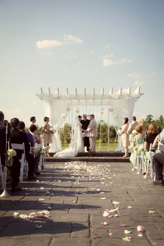Flowers: @Lavender Hill, Location: Huber's Orchard & Winery ... wedding pergola winery backdrop