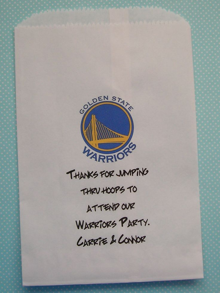 Go Warriors! Check out these great Golden State Warriors bags:    https://wrapuptheparty.com/product/25-golden-state-warriors-bags-paper-bags/
