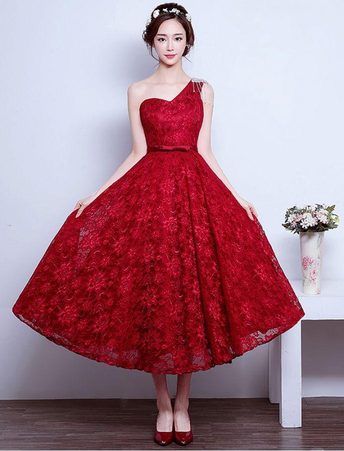 Vintage Inspired One Shoulder Lace Dress
