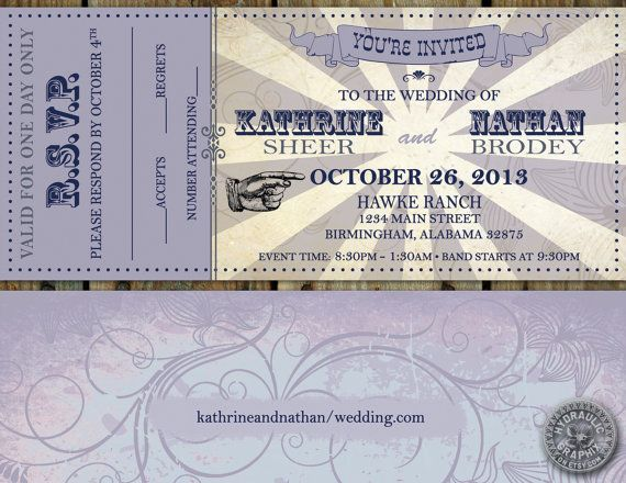 Printable Wedding Ticket Invitation and RSVP, VIP Music Concert TICKET stub, Retro wedding, Carnival elements