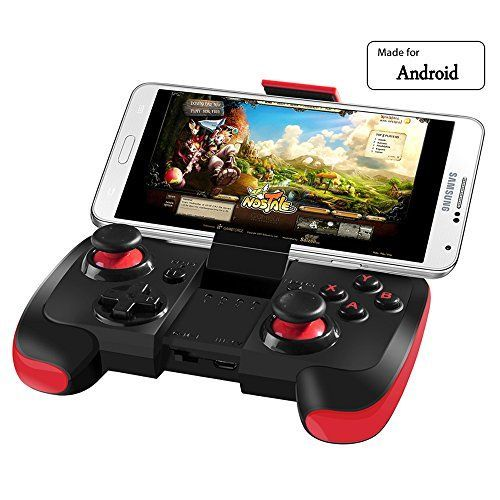 BEBONCOOL Wireless Bluetooth Game Controller Gamepad Joypad Joystick for Android Phone Samsung Gear VR, S6, S6 Edge, S7, S7 Edge, Note 5, Nexus, HTC, LG/Tablet PC Games with Clip (Red and Black)