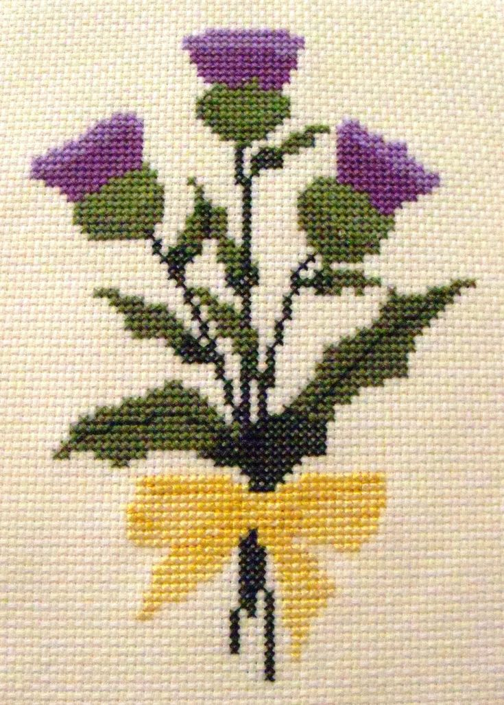 cross stitch thistle | Thistle Bouquet Cross Stitch Pattern by BonnieThistleDesigns