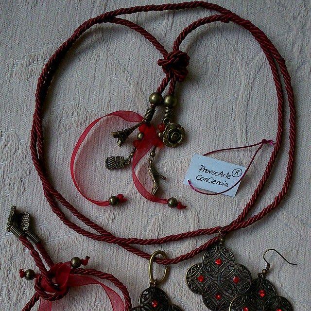 """Conjunto Pendientes+Pulsera+Colgante/Collar//Ser Earrings+Bracelet+Pendant/Necklace """"Granada"""". #pendientes #earrings #pulseras #bracelets #colgantes #collares #pendants #necklaces #rojo #red..."""