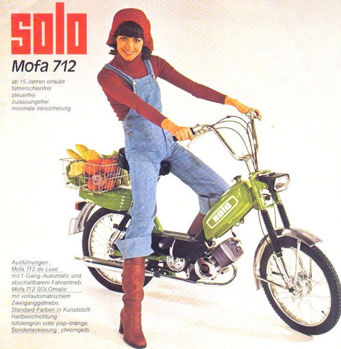 1976 solo 712 girl on green moped w vegetables moped. Black Bedroom Furniture Sets. Home Design Ideas