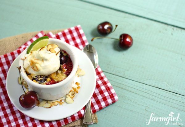 island cherry crumbles with creamy lime whip - a farmgirl's dabbles