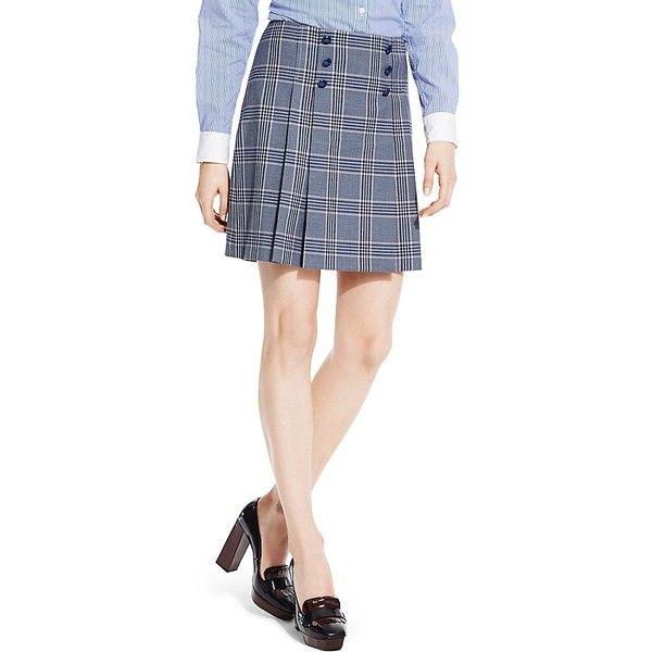 Tommy Hilfiger Plaid Pleated Skirt ($60) ❤ liked on Polyvore featuring skirts, plaid skirt, lycra skirt, tartan plaid skirt, tartan skirt and plaid pleated skirt
