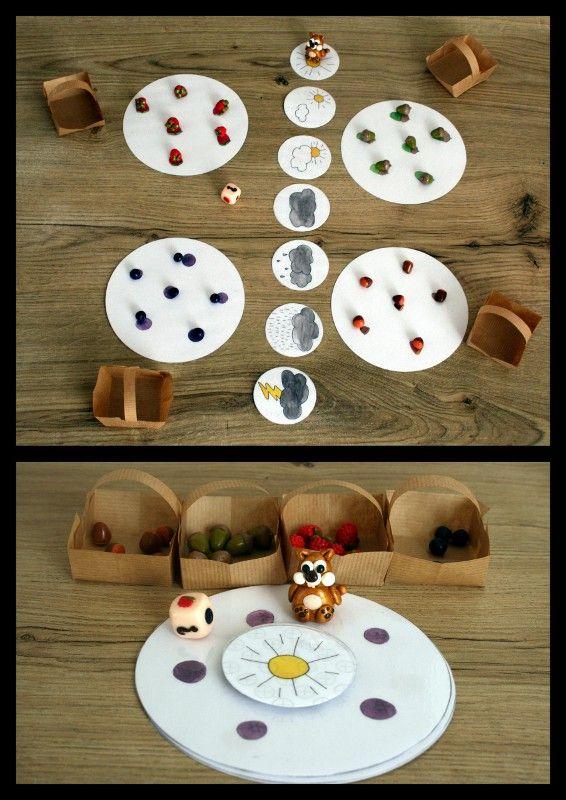 """Pour mes marchés, j'ai réalisé plusieurs exemplaires de deux jeux de société dont """"Le goûter de l'écureuil"""". C'est un jeu pour les enfants à partir de 2 ans. Un petit Clic sur les photos pour les voir plus grandes ! Il faut aider l'écureuil à ramasser..."""