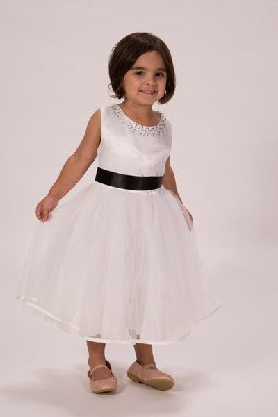 Kids Birthday Party – White Satin Tulle Beaded Dress – a unique product by flowergirlfinds on DaWanda