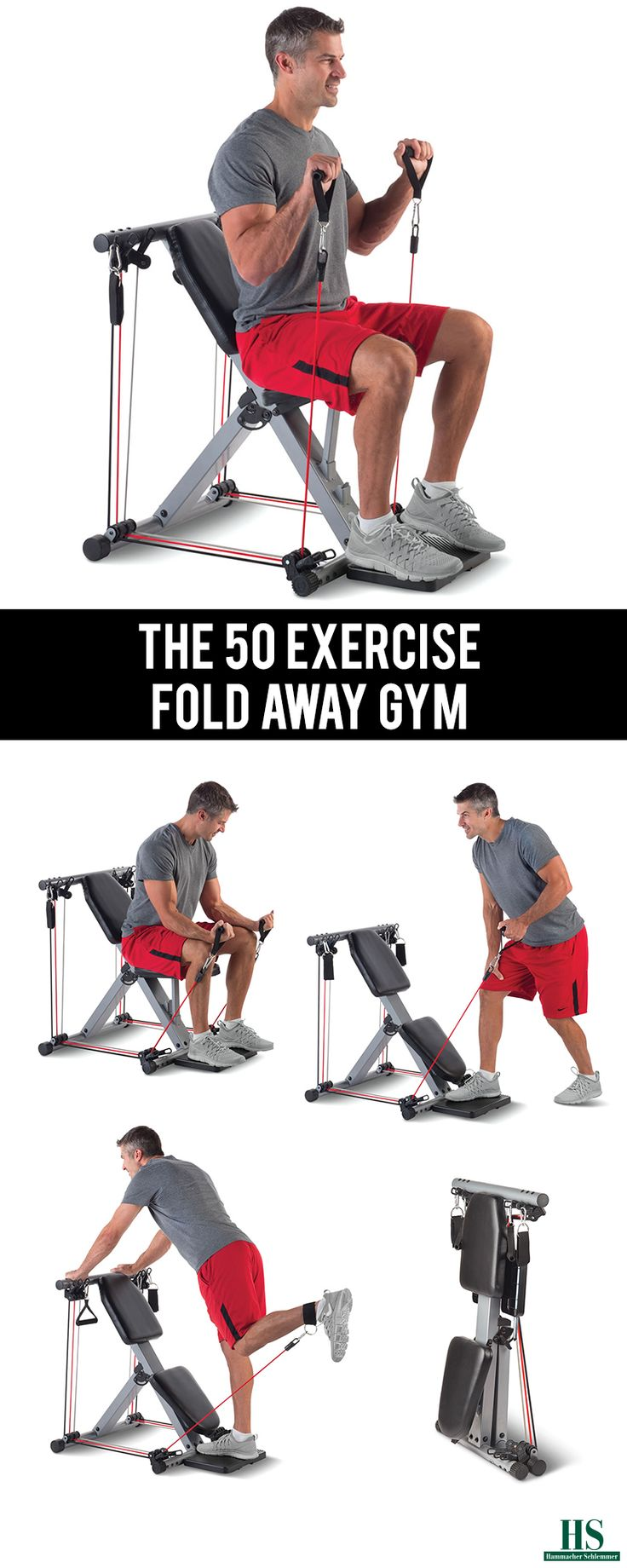 Commit to healthier habits and routines this year with The 50 Exercise Fold Away Gym from Hammacher Schlemmer.