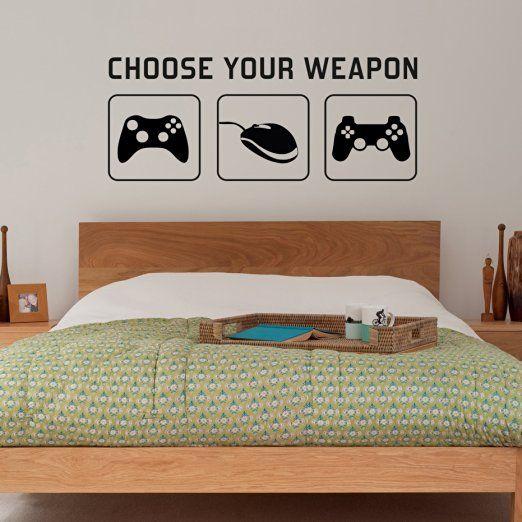 """Radecal - Decorazione adesiva da parete/ decalcomania con scritta """"Choose your weapon"""" (scegli la tua arma) con controller di console per videogiochi (PC, XBOX, Playstation), ideale per la stanza dei bambini, decorazione straordinaria per qualsiasi ambiente, dimensioni: 1 metro"""