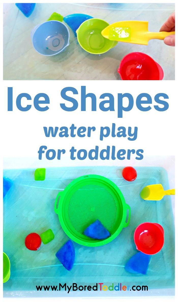 Ice shapes water play activity for toddlers. A fun water play and sensory play activity perfect for babies, 1 year olds, 2 year olds and 3 year olds. #waterplay #sensorybin #sensoryplay #toddlers #toddlerfun #outdoorplay  If you're looking for a fun Spring toddler activity or a Summer toddler activity then you need to try this one!