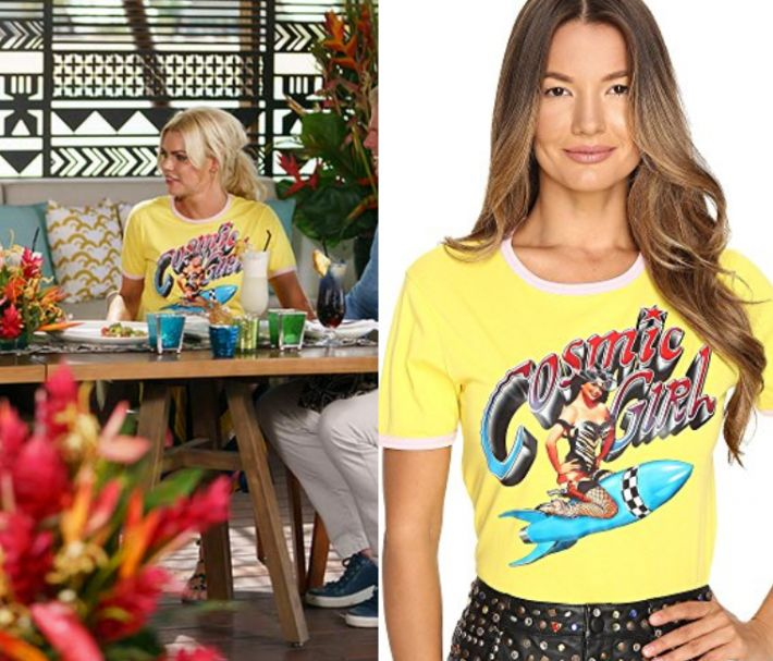 Sophie Monk wears this yellow ringer tee with 'Cosmic Girl' graphic print in this episode of The Bachelorette Australia on Thursday the 26th October 2017. It is the Jeremy Scott Cosmic Girl Tee. 3x12