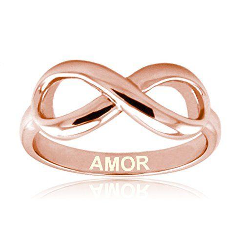 Amor de Rosa de Oro Plata Esterlina Anillo Infinito Graba http://amzn.to/2imL0Nv